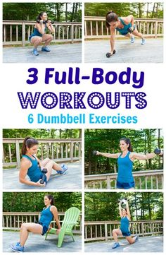 6 Dumbbell Exercises, 3 Full-Body Workouts http://carrotsncake.com/2016/08/6-dumbbell-exercises-3-full-body-workouts.html