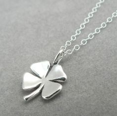 Four Leaf Clover sterling silver lucky charm pendant necklace, 16 in. by asilomarworks