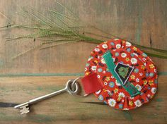 Fabric Key Ring Red and Indigo Blue sheer Fabric by Curiosite101, $14.00