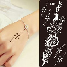 1 unids tatuaje de Henna Stencil para Glitter plantilla del tatuaje temporal negro Mehndi indio Tattoo Stencils para pintura Henna Kit