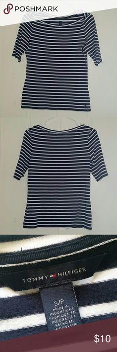 Tommy Hilfiger Striped Boatneck Top Tommy Hilfiger striped 3/4 sleeves boatneck top. Navy blue with white stripes. Gently used. Tommy Hilfiger Tops