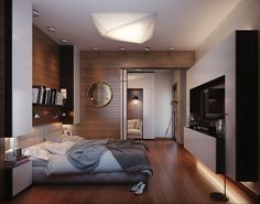 Accessories & Furniture, Marvelous Small Space Men Bedroom Ideas With Comfortable White Leather Bed Frame On Combined Trendy Brown Linen Wood Floor And Beautiful Bookshelf Plus Cool Tv Wall Units Also Modern Chrome Tripod Spot Light For Classic Concept: Lovely Mens Bedroom Ideas Trends In 2014 You Must See