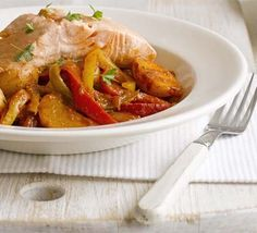 Heart-healthy salmon tops this simple one-pot which will help towards your five-a-day