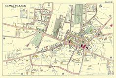 Lenox Massachusetts antique map - MUSEUM OUTLETS