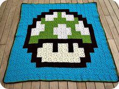 Mario mushroom granny square