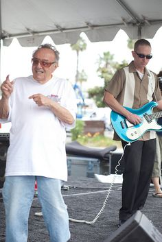 George Barris and the guy playing the 'blue guitar'