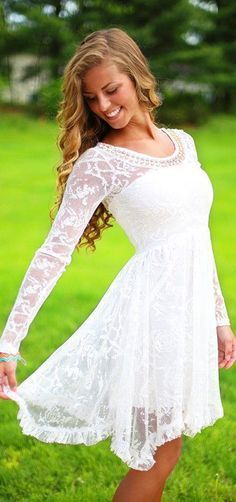 Would be a perfect short wedding dress with cowboy boots