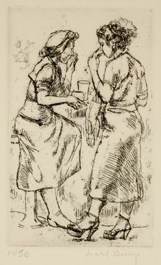 Isabel Bishop / Lunch Break / etching / 1956 / Union Square / New York / Teller 50a / Eight Etchings, 1930--1959 / printmaking / drawing / art / decor / lunch counter / eating / friends / women
