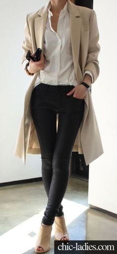 white shirt + black skinny pants + nude shoes + nude trench or cardigan. Absolutely love it!