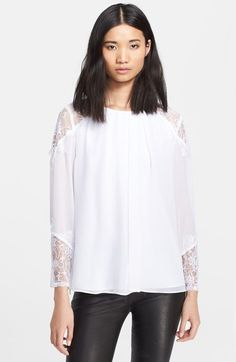 Alice + Olivia 'Danyelle' Lace Shoulder Silk Top available at #Nordstrom