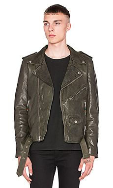 1eabaaf079762 BLK DNM X REVOLVE MAN Exclusive Leather Jacket 5 in Military Green Mens  Designer Leather Jackets