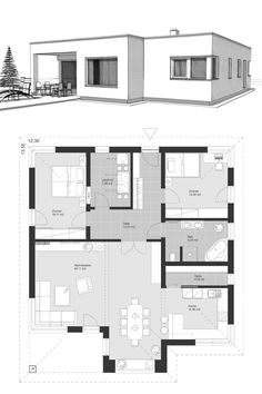Angular bungalow floor plan modern with flat roof Bauhaus style architecture - simple .Winkelbungalow floor plan modern with flat roof Bauhaus style architecture - single-family home-level building ideas drawing ELK Bungalow Haus 125 by . A Frame House Plans, My House Plans, Family House Plans, Bungalow Floor Plans, Modern Bungalow House, Flat Roof House, Facade House, Small Modern House Plans, Model House Plan