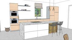Dit ontwerp maakte Villa Meliefste voor een uitbouw van een woning. Deze keuken wordt geplaatst met een vrijstaand eiland. Gekozen is voor materialen als marmer, rvs en messing. Meer hierover zien kijk dan in mijn portfolio Rvs, Messing