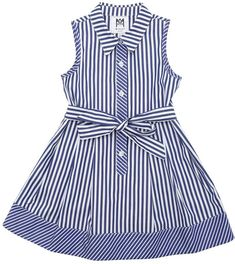 Milly Minis Sleeveless Striped Shirt Dress, Size and Matching Items Baby Girl Frocks, Frocks For Girls, Little Girl Dresses, Frock Design, Toddler Fashion, Fashion Kids, Kids Frocks Design, Dress Anak, Striped Shirt Dress