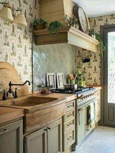 Small Farmhouse Kitchen, Smart Kitchen, Modern Farmhouse Kitchens, Kitchen On A Budget, Rustic Kitchen, Vintage Kitchen, New Kitchen, Home Kitchens, Kitchen Ideas