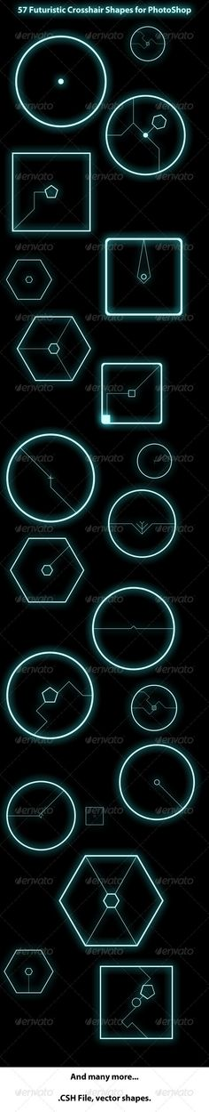 57 Futuristic Crosshair Shapes for Adobe Photshop  #GraphicRiver         Contains 57 clean and futuristic looking crosshair shapes for Adobe Photoshop. All in one .csh file, vector graphics.     Created: 27March12 Add-onFilesIncluded: PhotoshopCSH MinimumAdobeCSVersion: CS5 Tags: circle #clean #crosshair #future #futuristic #photoshop #rounded #shapes #sleek #space #triangle #vector