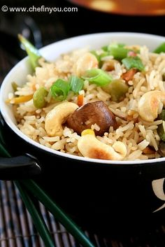 Cashew Fried Rice Recipe | Easy Rice Recipes | Indo Chinese Recipes