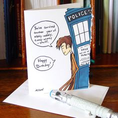 Doctor Who Birthday Card  Tenth Doctor  by amysnotdeadyet on Etsy