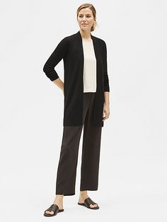 Merino Long Cardigan with silk georgette straight ankle pant and silk georgette crepe boxy shell Black Cardigan, Wool Cardigan, Cardigan Sweaters For Women, Cardigans For Women, Fashion Over 50, Eileen Fisher, What To Wear, Normcore, Stylish