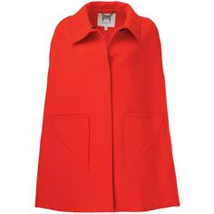 Rental Milly Gretel Cape (150 CAD) ❤ liked on Polyvore featuring outerwear, dresses, red, wool cape coat, red cape coat, red cape, wool cape and cape coat