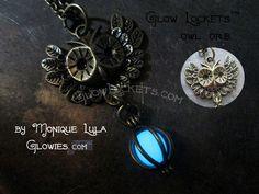 Glowies.net - Owl Orb Glow Locket Pendant Bronze