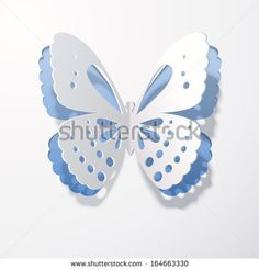Lace butterfly cut out of paper on a blue background. Abstract design. Vector illustration.
