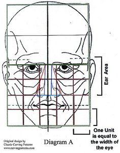 diagram A facial proportions for wood carving