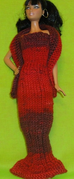 Barbie doll red evening gown with wrap by BeauregardKnits on Etsy, $9.97