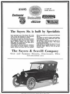 1919 Sayers Automobile Advertisement