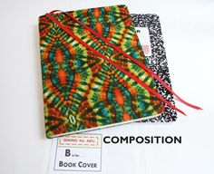 Stretch Composition Book Cover in TIE DYE with Bookmarks by SEWINGtheABCs on Etsy . . . $9 . . . Are You Ready for Back to School?  BUY IT NOW!! or PIN IT to FIND IT Later. #BacktoSchool #TieDyeBookCover #Bookcover #TieDyeNotebook #TextbookCover #StretchBookCover #CompositionBookCover #CompositionBook