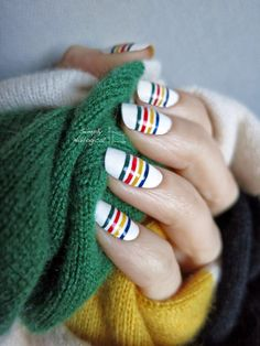 Hudson's Bay nail stripes by simplynailogical