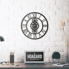 Hoagard Wall Clock 50 x 50 cm Black textured static paint Aluminum, silver scorpion and young Unique design You can hang it with one nail from hidden hanger. Pr