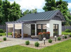 projekt domu letniskowego Best Modern House Design, Simple House Design, Tiny House Design, Container Home Designs, Small Cottage Designs, Beautiful Small Homes, Kerala Houses, Tiny House Cabin, New House Plans