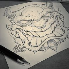 Just needed to draw something. Badass Drawings, Demon Drawings, Tattoo Drawings, Art Drawings, Sketch Tattoo, Graffiti Art, Graffiti Drawing, Comic Drawing, Cool Sketches