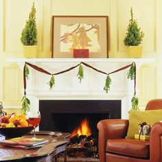Trees for the Mantel  Small trees -- living, cut, or artificial -- make lovely mantel decorations. Place them in pretty pots or baskets lined with plastic. Decorate as desired or leave unadorned for a simple (yet elegant) look.