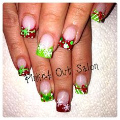Bright Christmas fun!  Check out Pinked Out Salon on Facebook. #nailart #nails #christmasnails