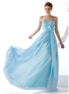 A-Line/Princess Strapless Floor-Length Chiffon Satin Evening Dress With Ruffle Beading Crystal Brooch (017013770)