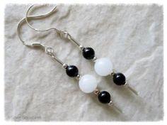 Black Onyx & Snow White Jade Sterling Silver Earrings   Silver Sensations handmade by Lynne @ Silver Sensations. Genuine Semi Precious Gemstones & Sterling Silver