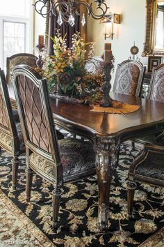 44 Magnificient Kitchen Table Decor - South Barrington Dining Room Project Home Decor Dining - Tuscan Dining Rooms, Elegant Dining Room, Luxury Dining Room, Beautiful Dining Rooms, Dining Room Sets, Dining Room Design, Dining Room Table Centerpieces, Dining Table Chairs, Centerpiece Ideas