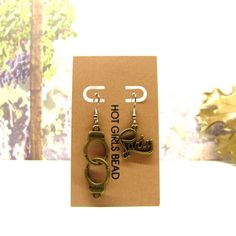 Freedom Party Antique Bronze Charm Earrings Jewelry by SeedDreams, $15.00