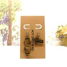 Freedom Party Antique Bronze Charm Earrings Jewelry by SeedDreams, $15.00