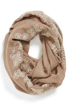 $20, Tan Print Scarf: BP. Floral Trim Infinity Scarf Tan None. Sold by Nordstrom. Click for more info: https://lookastic.com/women/shop_items/115421/redirect