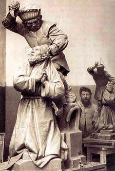 In his Paris Studio Jean-Joseph Marie Carriès (February 15, 1855 – July 1, 1894)  French sculptor, ceramist, and miniaturist
