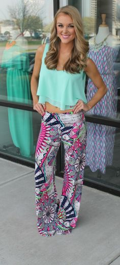 Dottie Couture Boutique - Pink Print Palazzo Pants, $38.00 (http://www.dottiecouture.com/pink-print-palazzo-pants/)