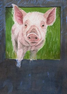 Farm Animal Nursery Print, animal art, pig, colored pencil art, fine art print, giclee, babys room decor, nursery decor *This fine art giclee print is from an original image I created using a method called wax resist. The piglet was first sketched out in pencil and I enclosed it