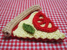 She Crocheted A No-Calorie Pizza Slice – Genius! Crochet Fruit, Crochet Diy, Crochet Food, Love Crochet, Learn To Crochet, Crochet Crafts, Crochet Flowers, Crochet Projects, Play Food