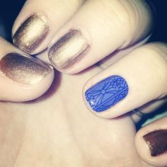 Gold with a blue accent