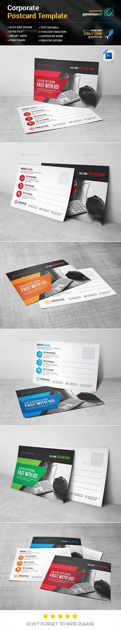 Buy Postcard by generousart on GraphicRiver. File Information: Easy Customizable and Editable Postcard in with bleed CMYK Color Design in 300 DPI Res. Postcard Template, Postcard Design, Direct Mail Design, Lato Font, Business Postcards, Different Colors, Photoshop, Graphic Design, Templates