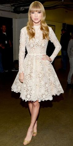 Love This Longsleeve Little Lace Dress With Gold High Heels - spring summer autumn winter different hairdo though
