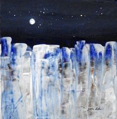 "Contemporary Abstract Landscape Painting- ""MOONLIGHT IX""- by artist Cristina Del Sol"